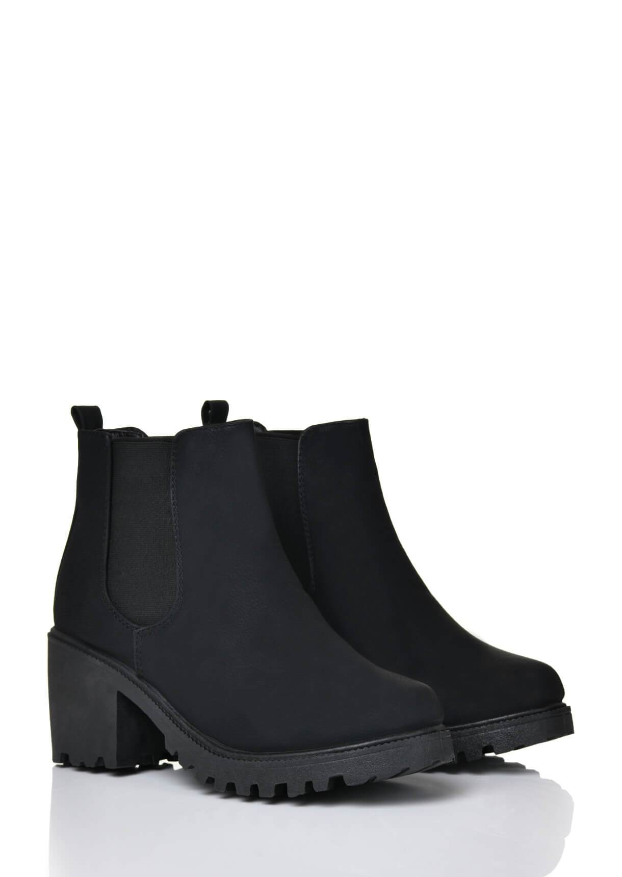Wide Fit Black PU Chunky Heel Elastic Ankle Boots