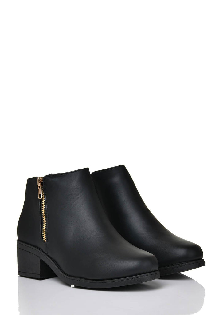 Pink Clove Wide Fit Black PU Side Zip Ankle Boots