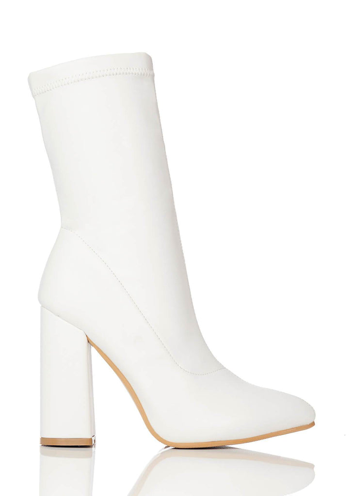 Pink Clove Wide Fit White Block Heel Stretch Ankle Boots