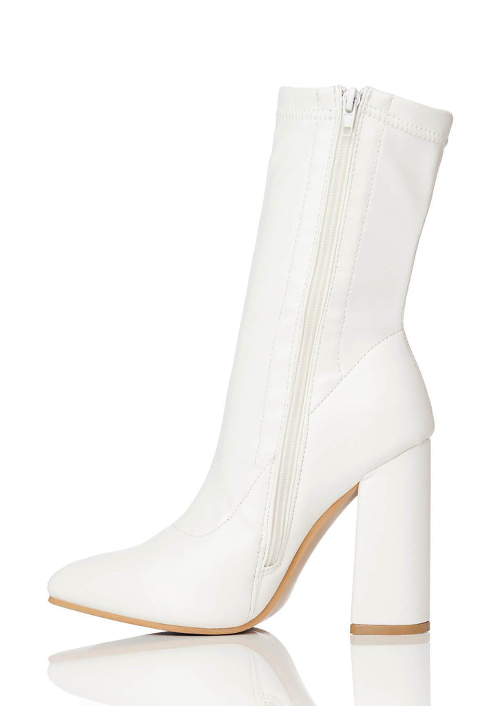 Pink Clove Wide Fit White Block Heel Stretch Ankle Boots view 2