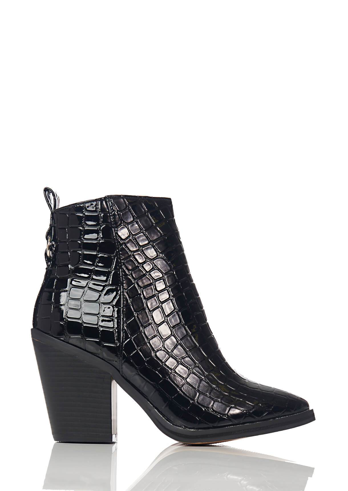 Wide Fit Black Pointed Toe Croc Boots