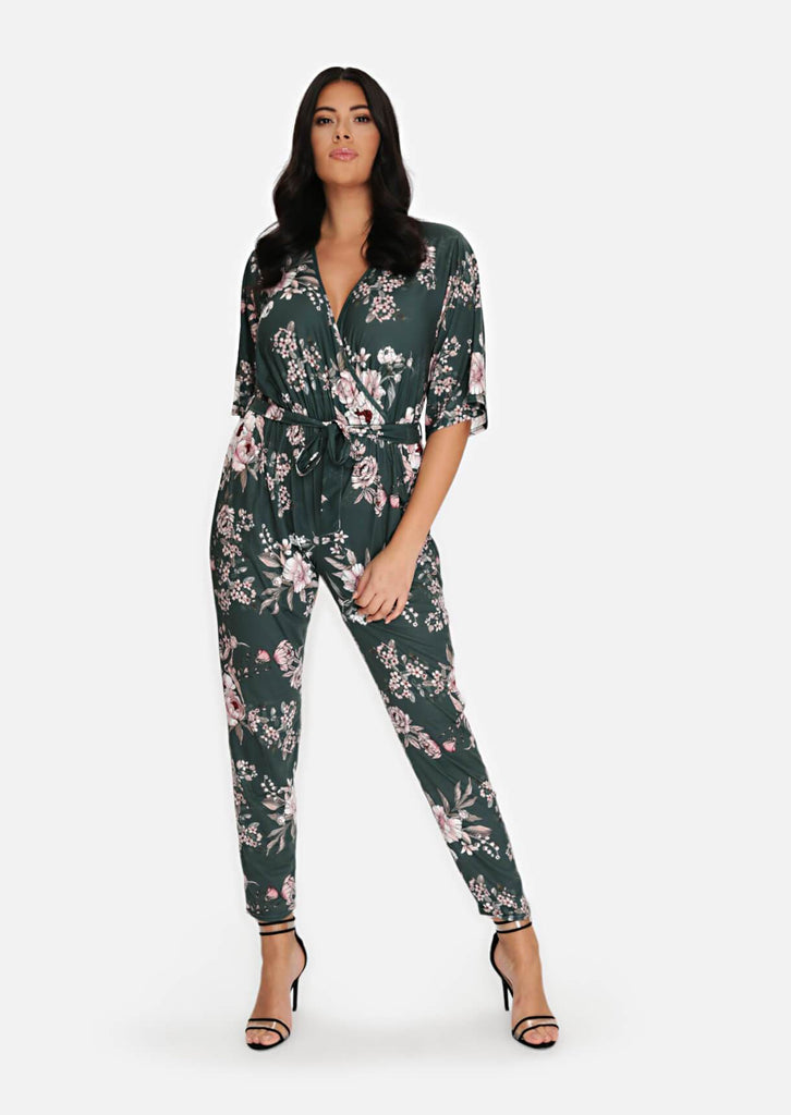 Pink Clove Green Wrap Belted Jumpsuit view main view