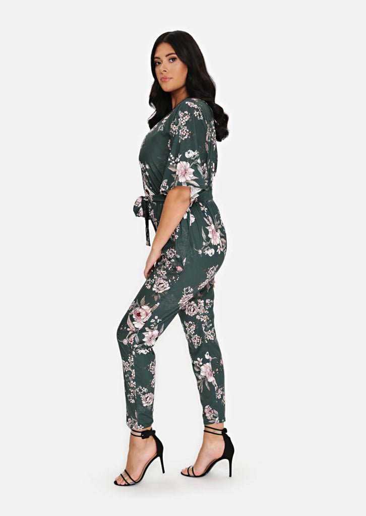 Pink Clove Green Wrap Belted Jumpsuit view 2