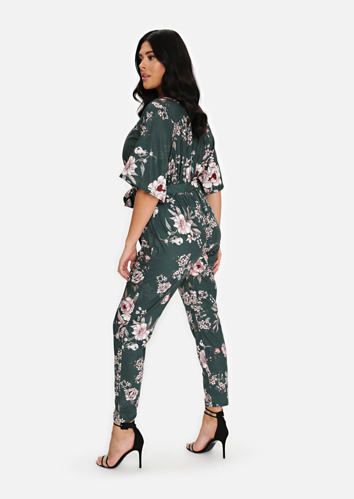 Pink Clove Green Wrap Belted Jumpsuit view 3