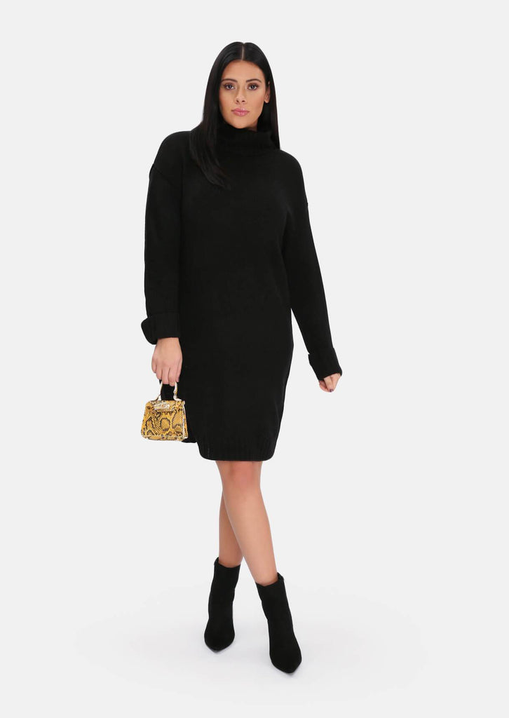 Pink Clove Black Roll Neck Knitted Dress view 4