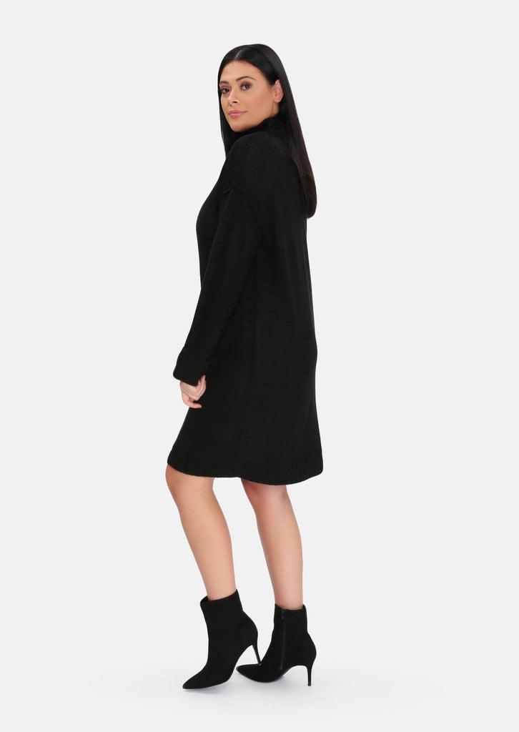 Pink Clove Black Roll Neck Knitted Dress view 3