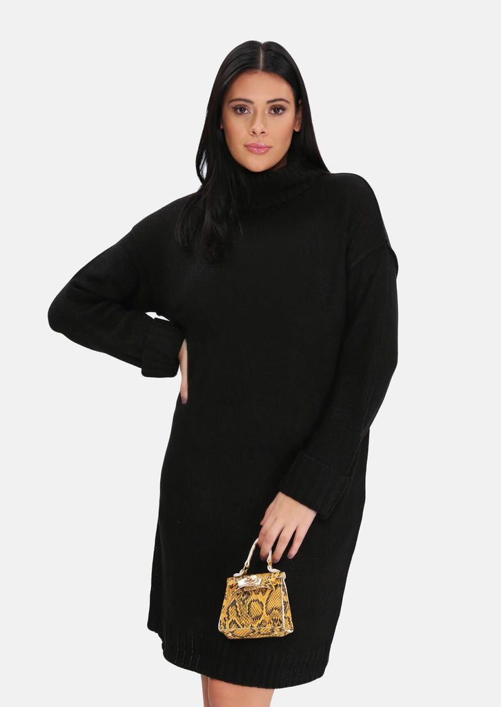 Pink Clove Black Roll Neck Knitted Dress view main view