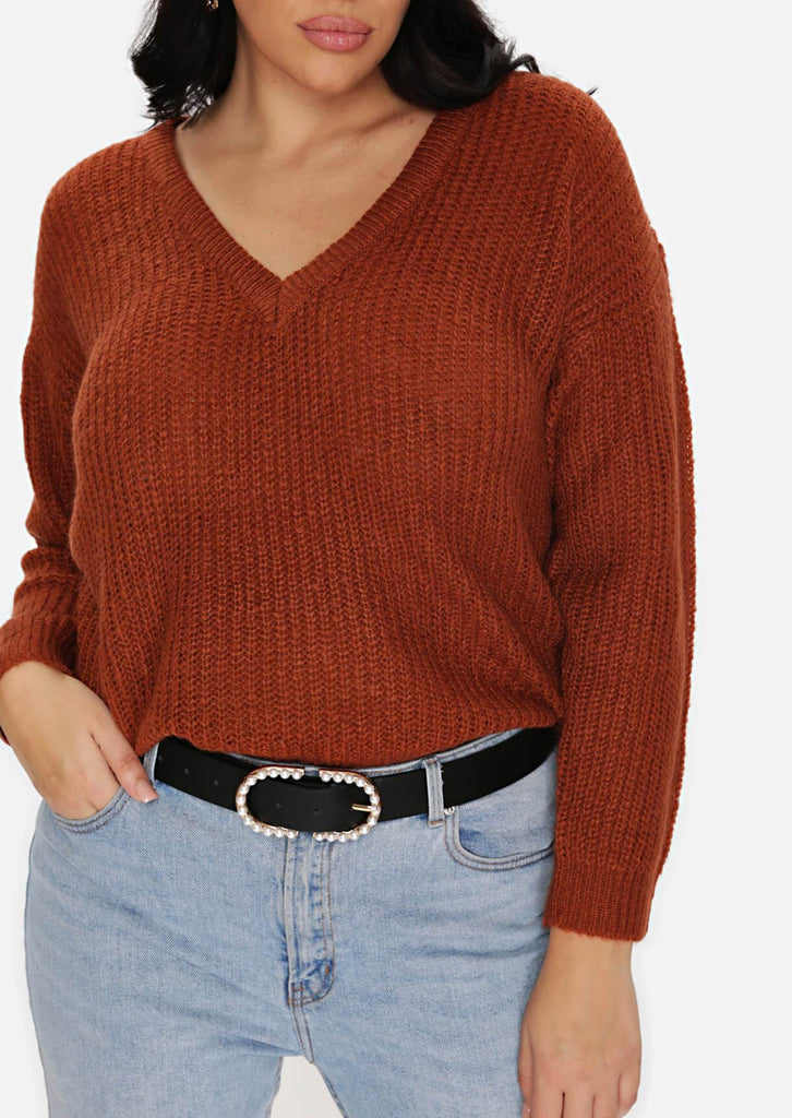 Pink Clove Brown Lightweight Fisherman Rib V neck Jumper view 5