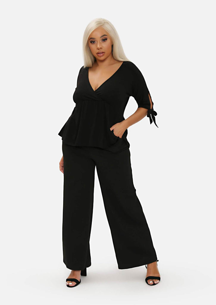 Pink Clove Black High Waist Tailored Wide Leg Trousers