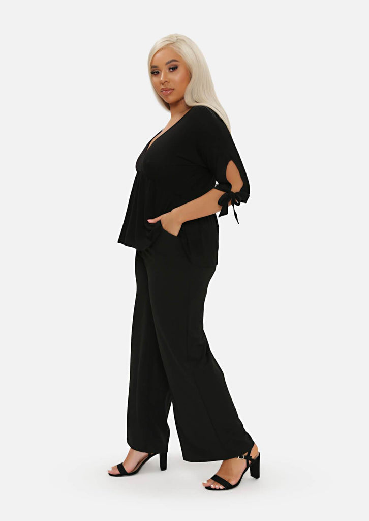 Pink Clove Black High Waist Tailored Wide Leg Trousers view 4