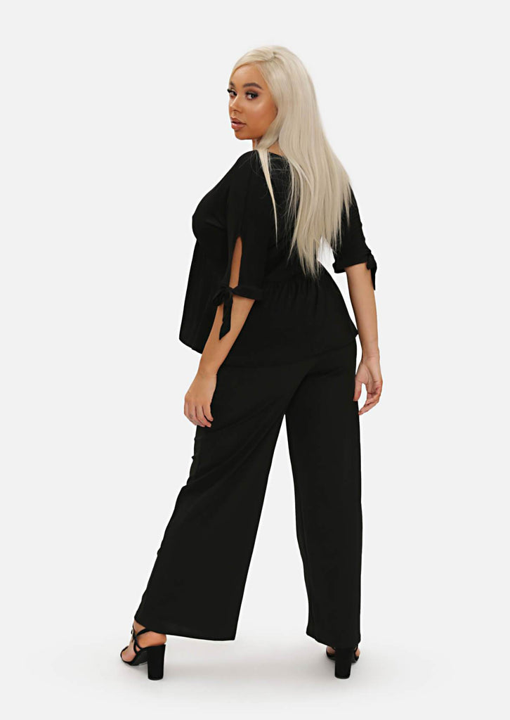 Pink Clove Black High Waist Tailored Wide Leg Trousers view 5