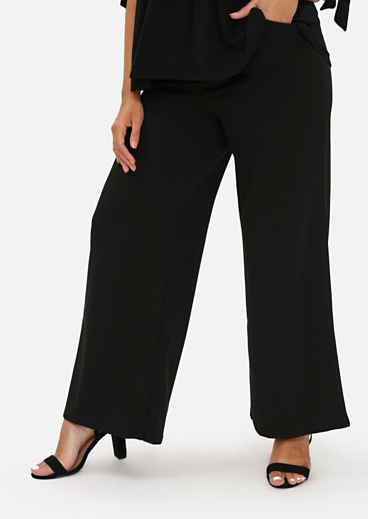 Pink Clove Black High Waist Tailored Wide Leg Trousers view 2