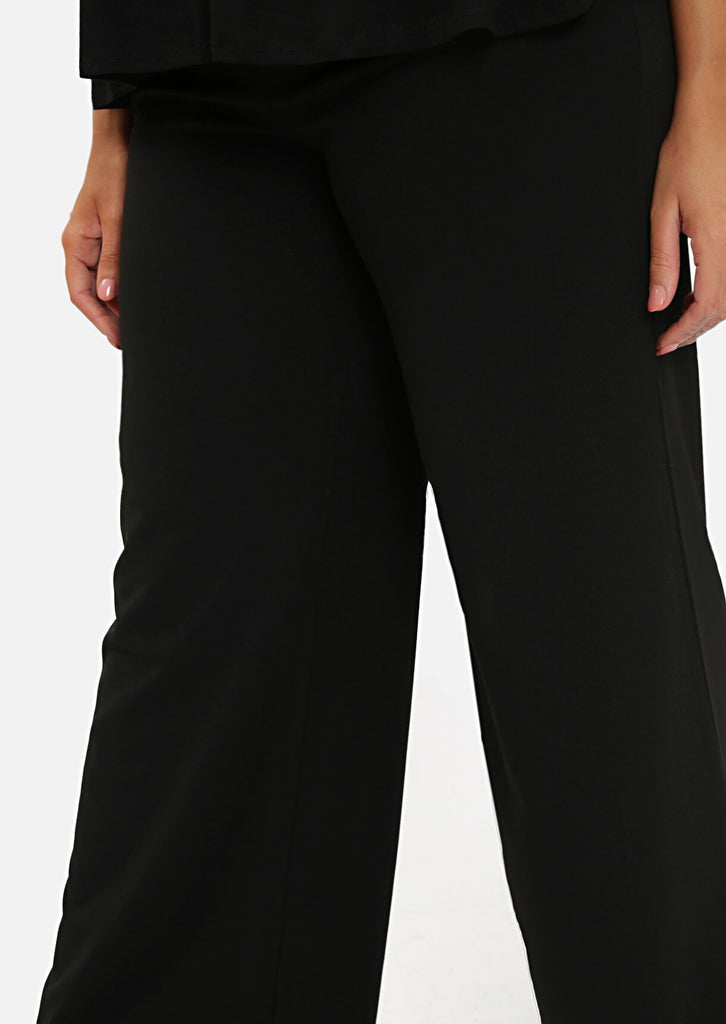 Pink Clove Black High Waist Tailored Wide Leg Trousers view 3