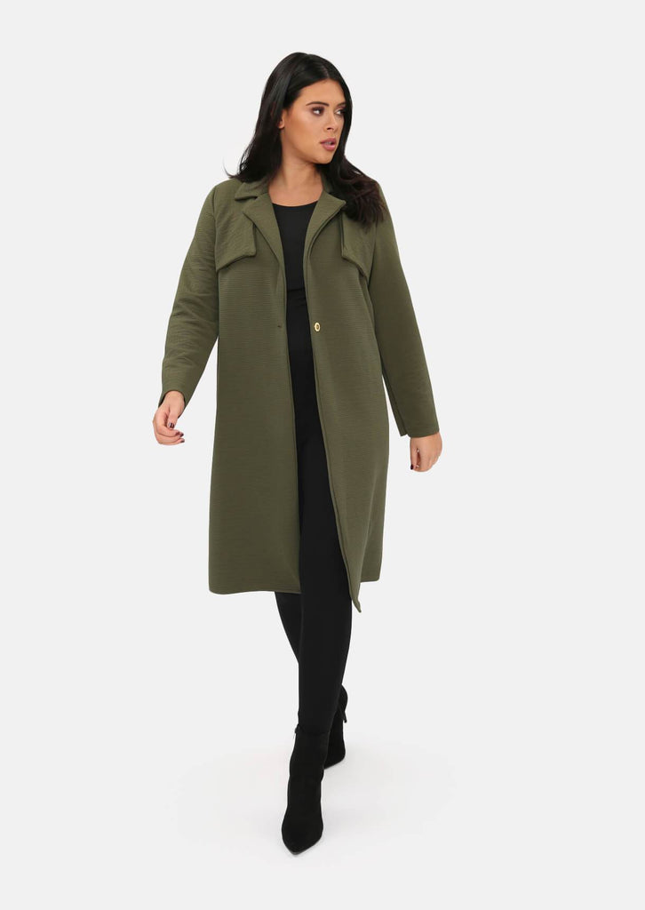 Pink Clove Khaki Long Line Button Duster Jacket