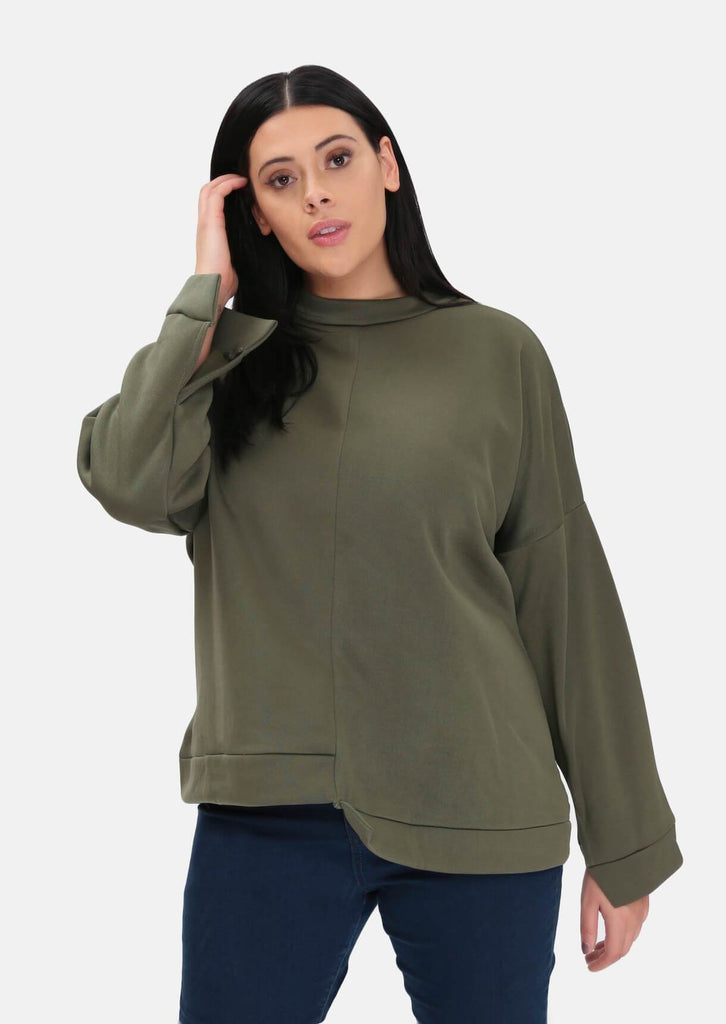 Pink Clove Khaki Step Hem Super Soft Sweat Top
