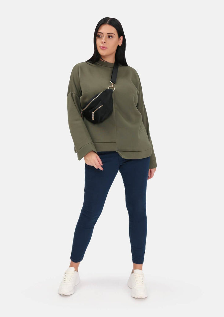 Pink Clove Khaki Step Hem Super Soft Sweat Top view 5