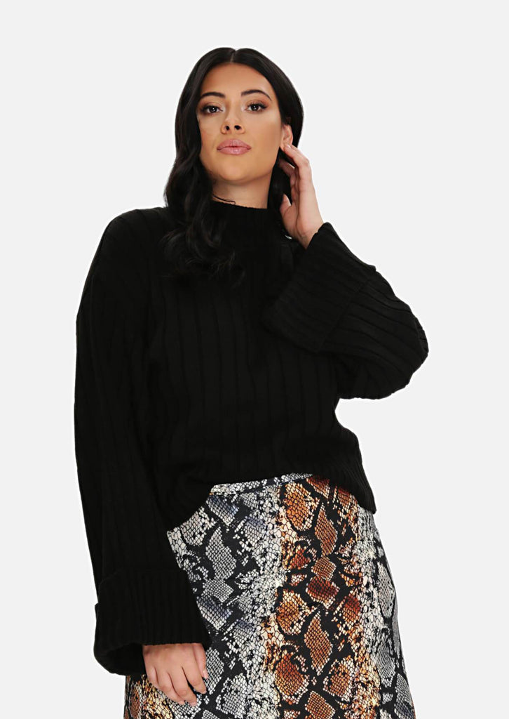 Pink Clove Black Wide Cuff Wide Sleeve Jumper view main view