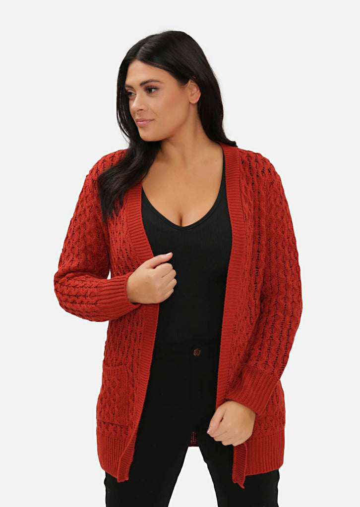 Pink Clove Rust Long Cable Knit Cardigan