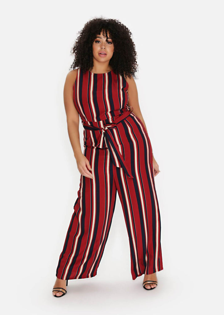 Pink Clove Wine Stripe Belted Jumpsuit view main view