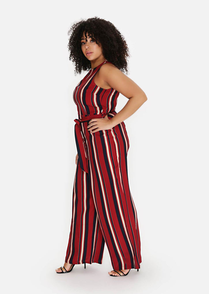 Pink Clove Wine Stripe Belted Jumpsuit view 3