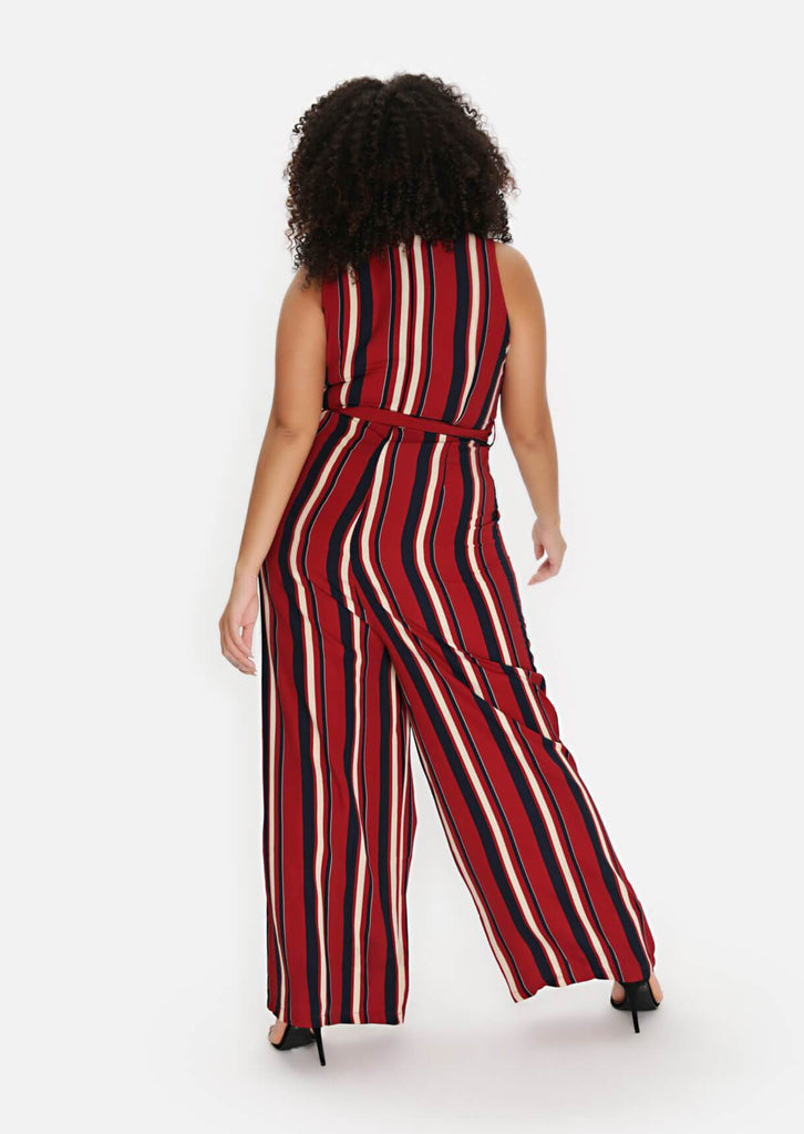 Pink Clove Wine Stripe Belted Jumpsuit view 4