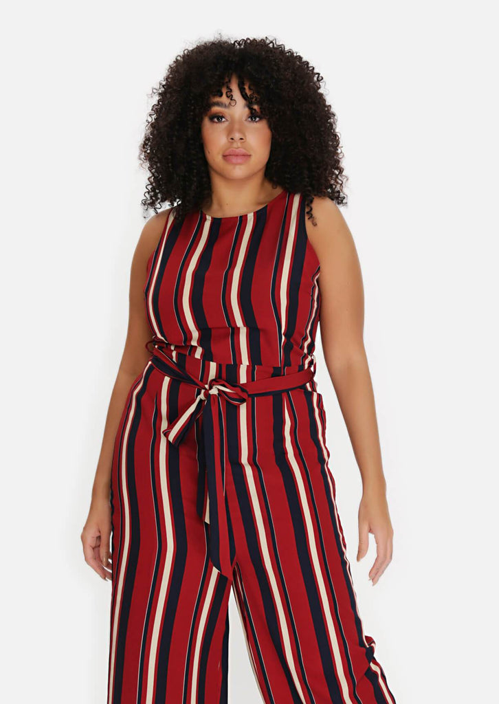 Pink Clove Wine Stripe Belted Jumpsuit view 2
