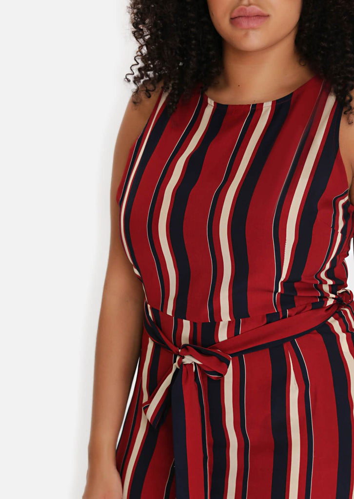 Pink Clove Wine Stripe Belted Jumpsuit view 5