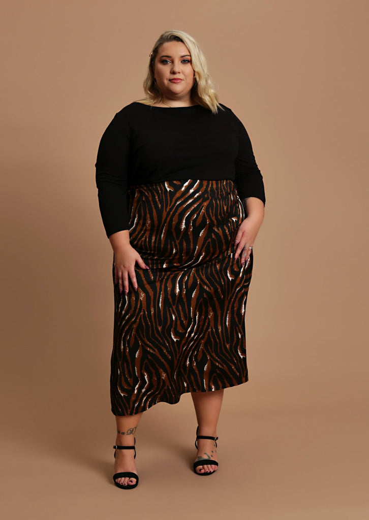Pink Clove Mocha Zebra Print Long Skirt view main view