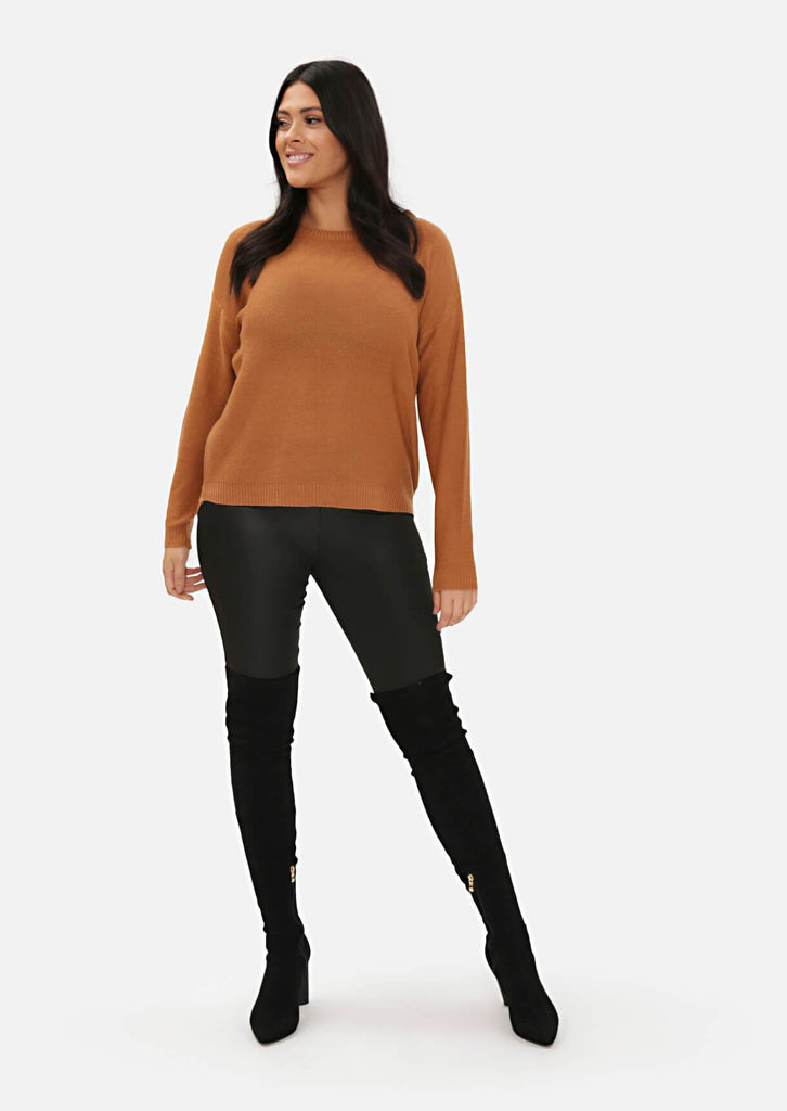 Pink Clove Camel Long Sleeve Jumper With Zipped Back view 3
