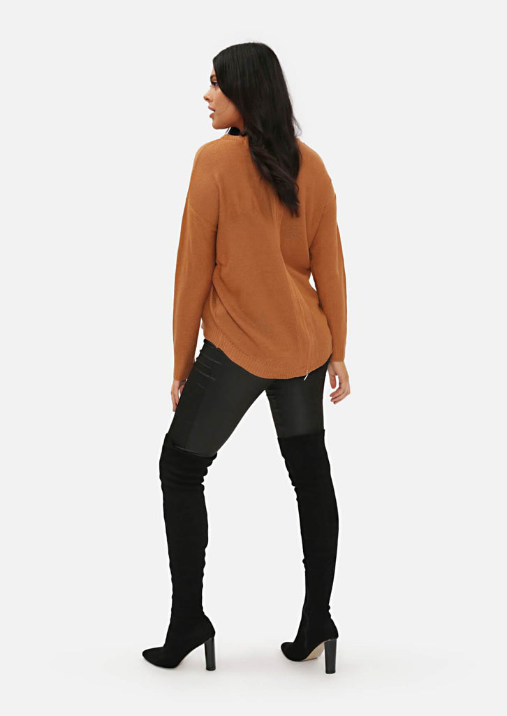 Pink Clove Camel Long Sleeve Jumper With Zipped Back view 5