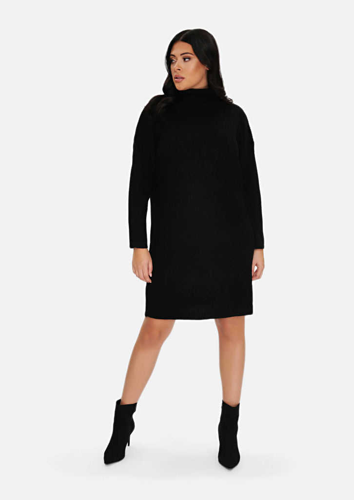 Plus Size Black Rib Jumper Dress view 4