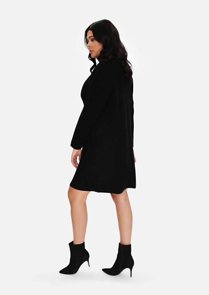 Plus Size Black Rib Jumper Dress view 2