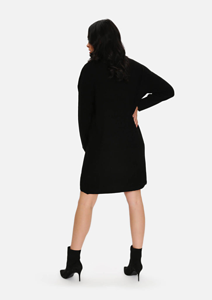 Plus Size Black Rib Jumper Dress view 3
