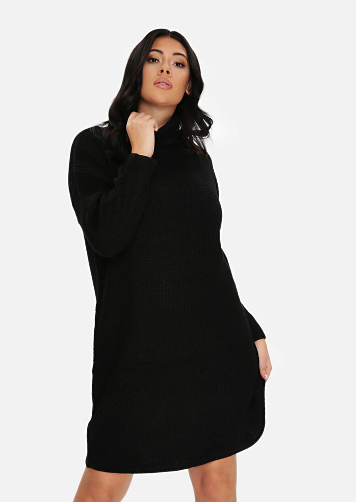 Plus Size Black Rib Jumper Dress