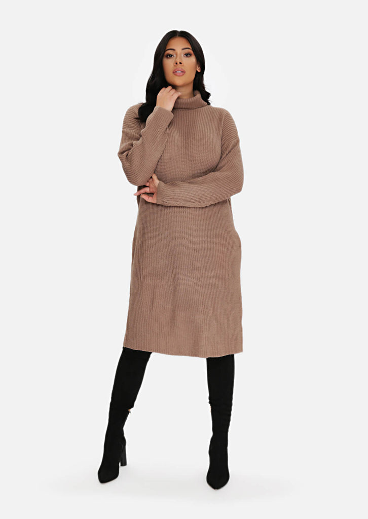 Plus Size Taupe Rib Jumper Dress view main view