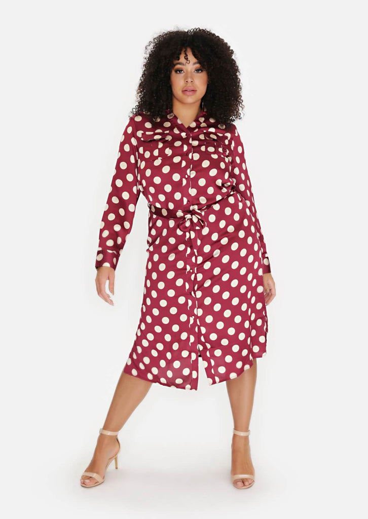 Pink Clove Wine Polka Dot Tie Belt Midi Dress