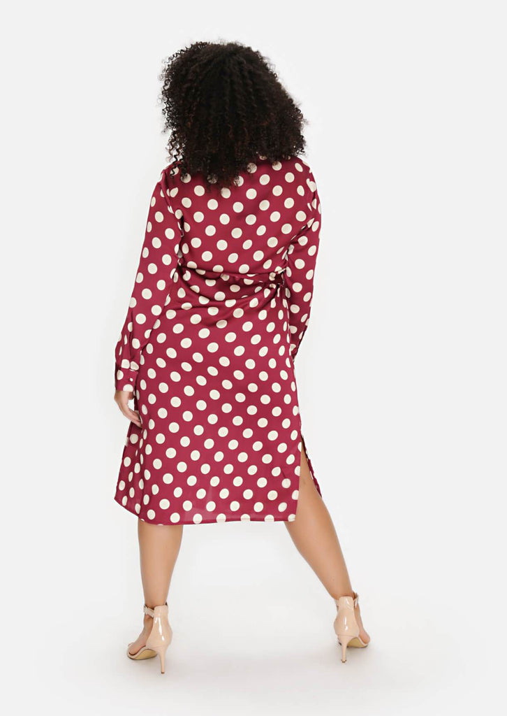 Pink Clove Wine Polka Dot Tie Belt Midi Dress view 4
