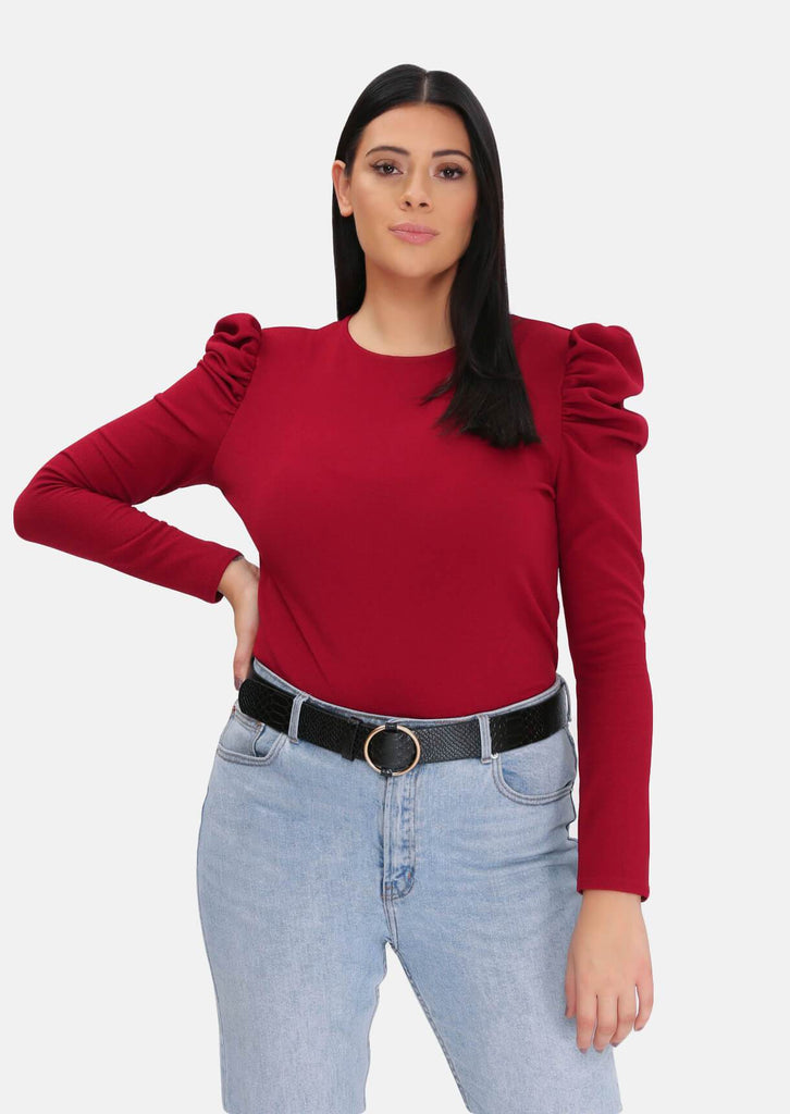 Pink Clove Wine Puff Long Sleeve Top view main view