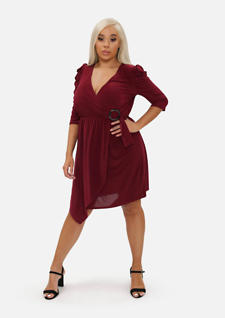 Pink Clove Berry Gathered Shoulder Wrap Dress view 3