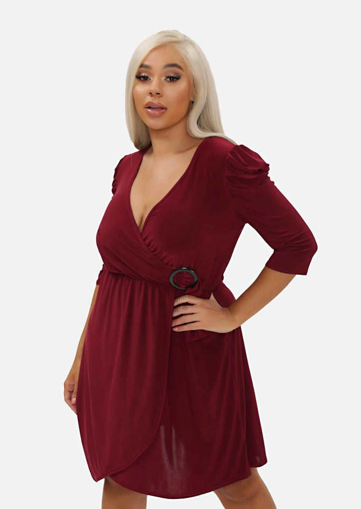 Pink Clove Berry Gathered Shoulder Wrap Dress