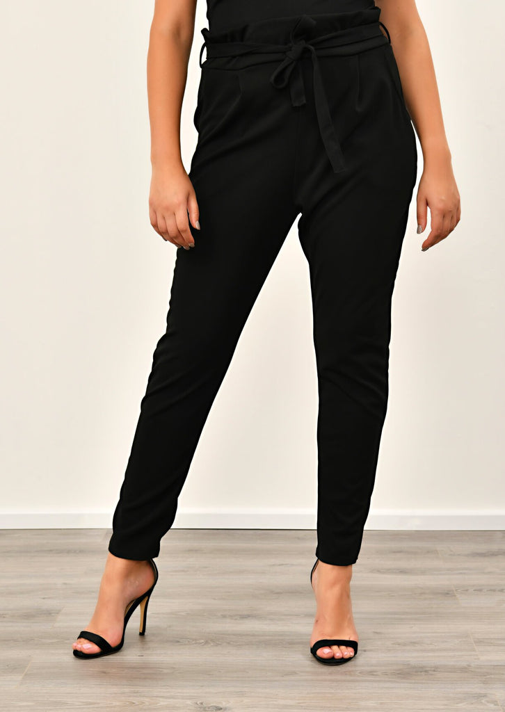 Pink Clove Black Paper Bag Tapered Trousers view 4