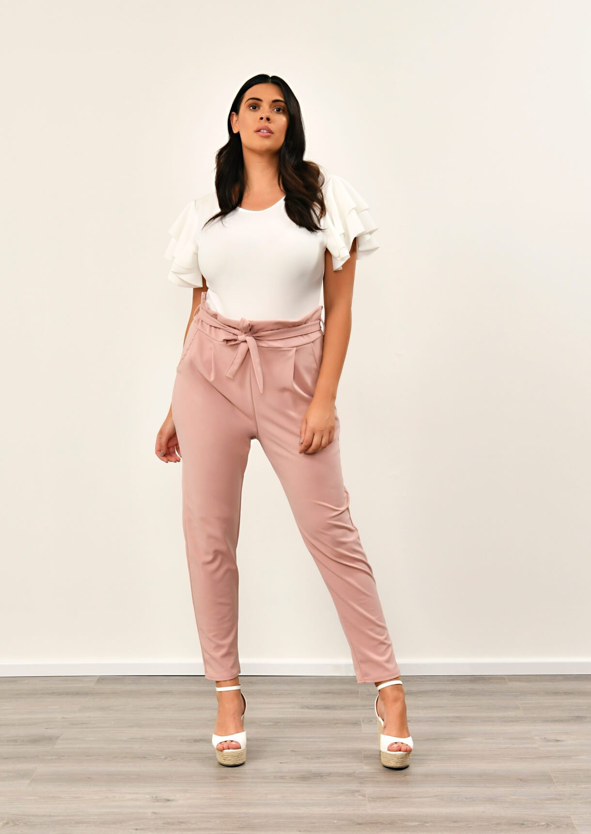 Blush Pink Paper Bag Tapered Trousers
