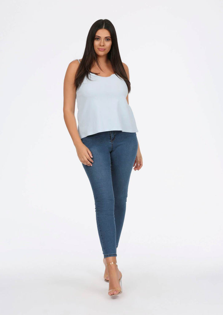 Blue Scalloped Edge Cami Top 3 view 3