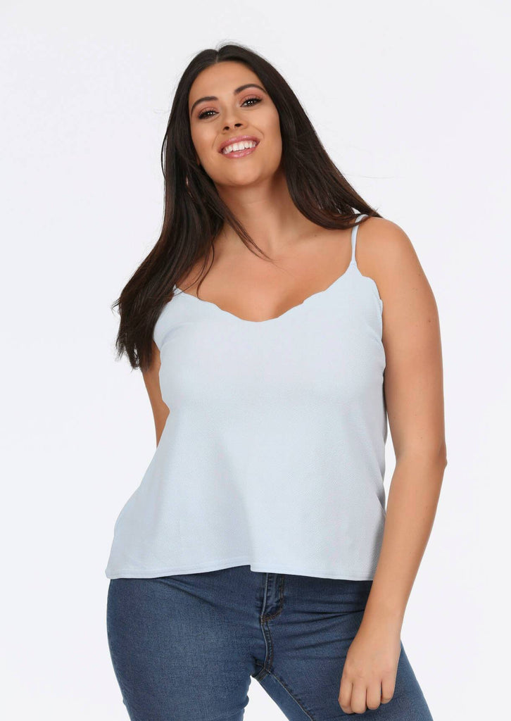 Blue Scalloped Edge Cami Top 1 view main view