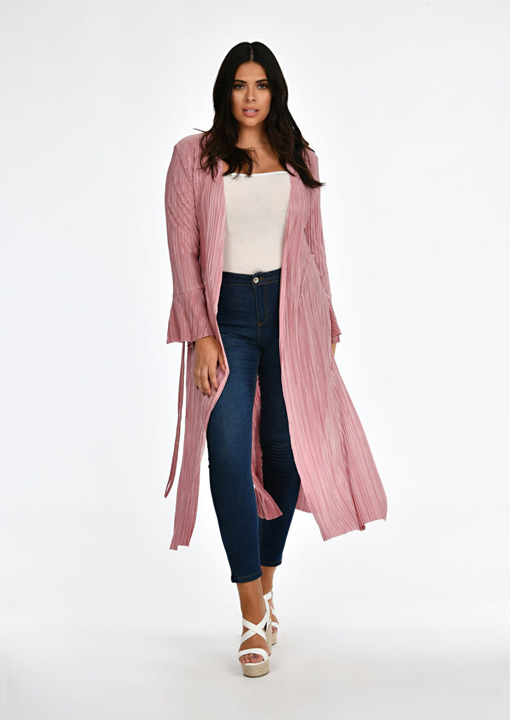 Pink Clove Rose Pleated Tie Duster Jacket