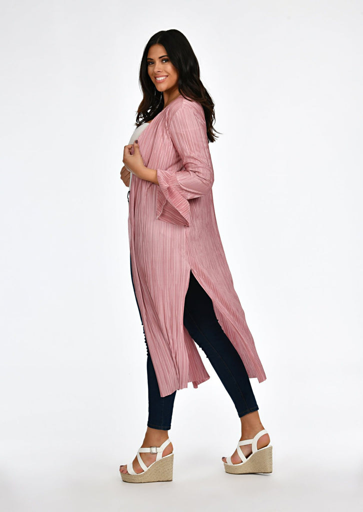 Pink Clove Rose Pleated Tie Duster Jacket view 3