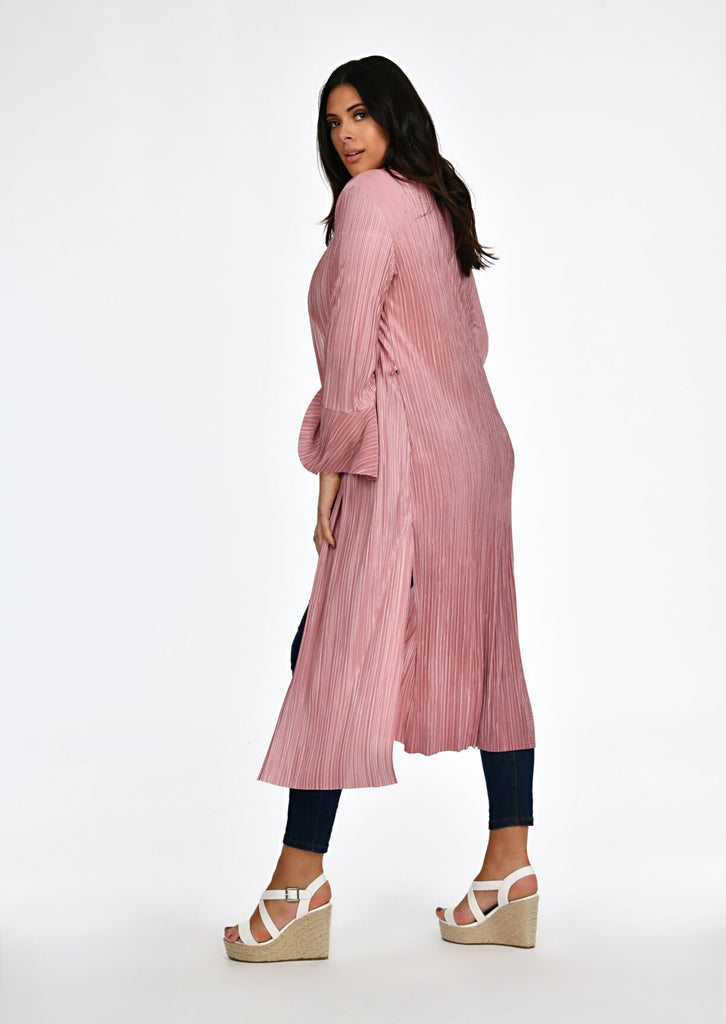 Pink Clove Rose Pleated Tie Duster Jacket view 2