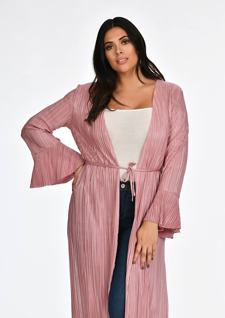 Pink Clove Rose Pleated Tie Duster Jacket view 4