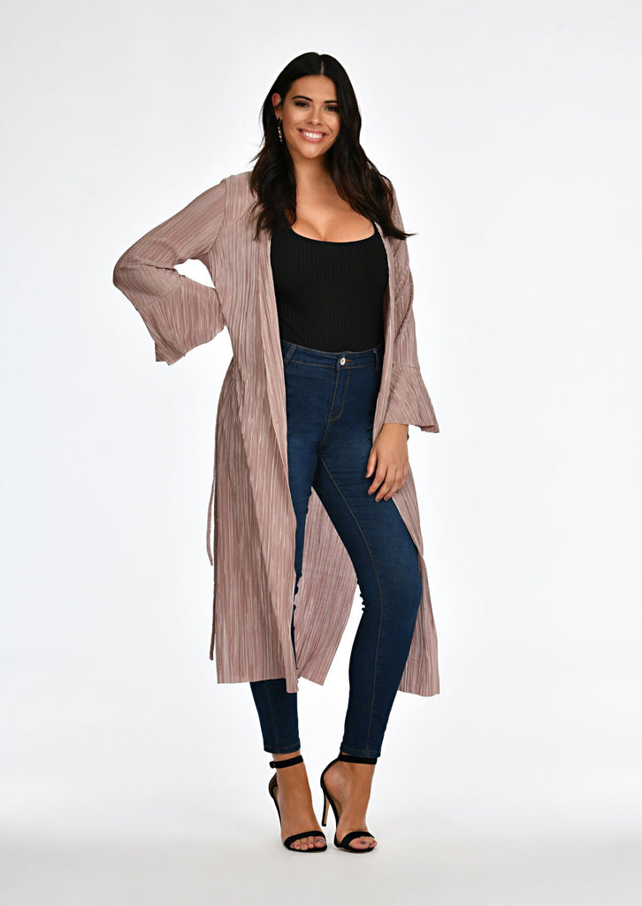 Pink Clove Mocha Pleated Tie Duster Jacket view main view