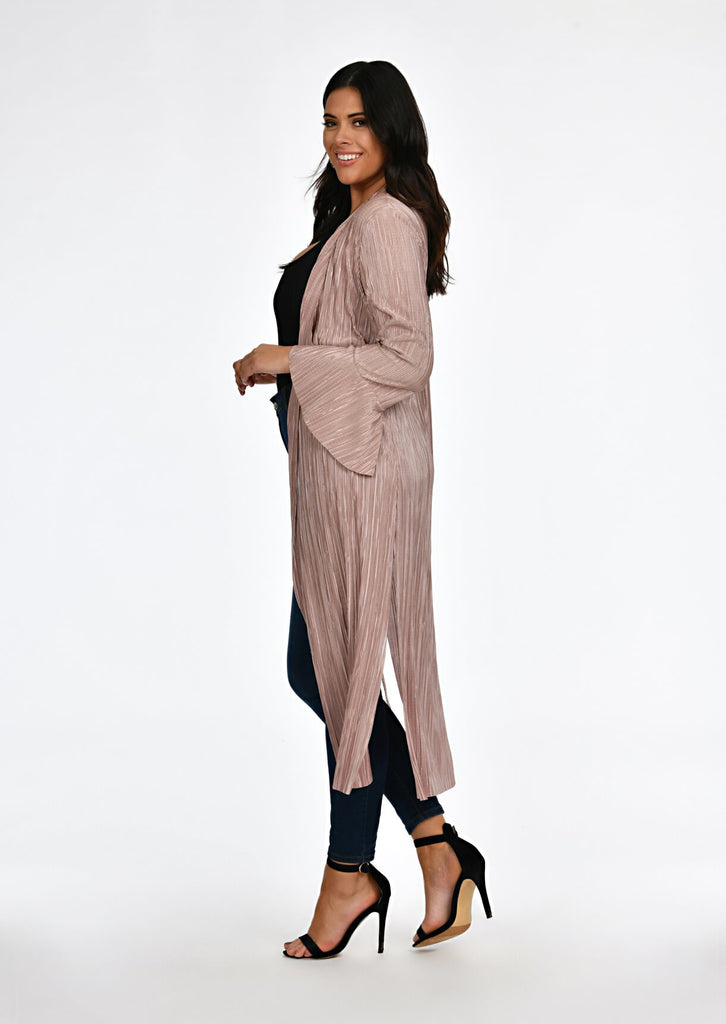 Pink Clove Mocha Pleated Tie Duster Jacket view 3